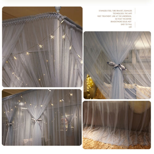 4 Corner Princess Style Post Bed Canopy Mosquito Netting with Led Light+Frame