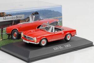 1963-Mercedes-Benz-230-Sl-Roadster-Rojo-1-43-Ixo-Altaya-Coleccion