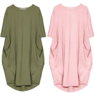 Women-Lagenlook-Quirky-Boho-Jersey-Cotton-Baggy-Pocket-Casual-Dress-1-2-Sleeve