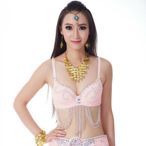 Women Belly Dance Costume Sequins Bead Performance Wear Top Bra 34-75//C