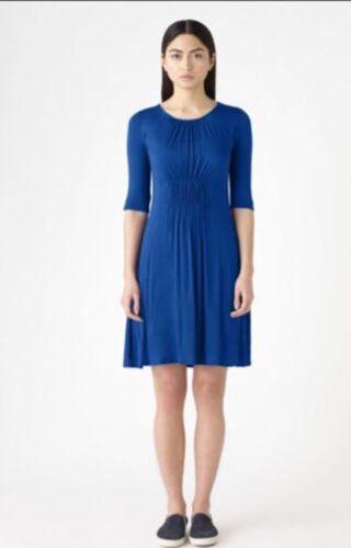 Nouveau puzzle Bleu Jersey Pintuck Shift une ligne robe manches 3//4 S M 8-14
