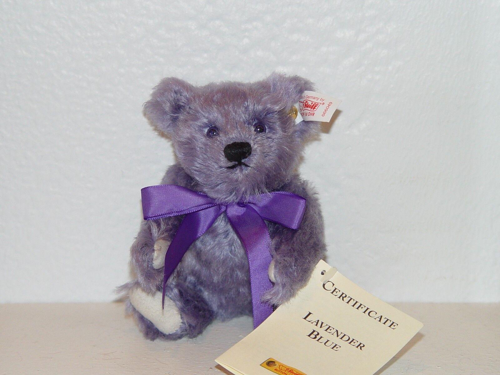 Steiff MINI LAVENDER blu Teddy Bear EAN 666049 MOHAIR 6.29 inches  16cm  - NEW