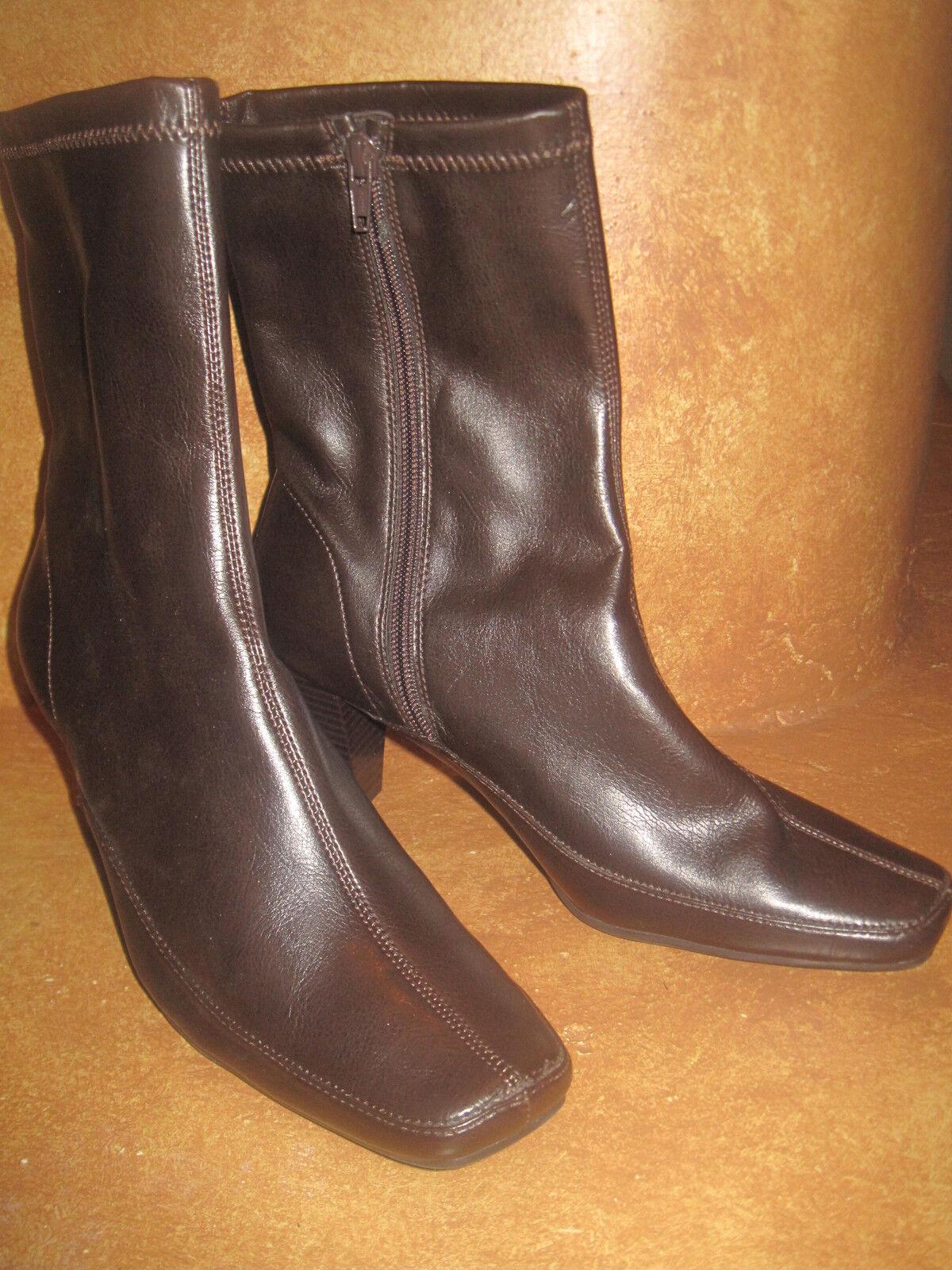 Aerology Women's Chocolate Brown Ankle Boots Zipper 2 3/4