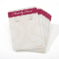 """12 -Off White paper Earring/Jewelry cards- """"Made by Hand"""" approx 3 1/2"""" X 2 3/8"""""""