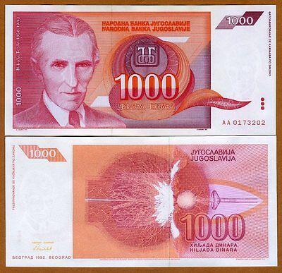 Yugoslavia, 1000 (1,000) Dinara, 1992, Pick 114, UNC > Red Tesla