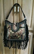 Trinity Ranch Montana West Concealed Carry Purse Leather Fringe Gun Bag Camo