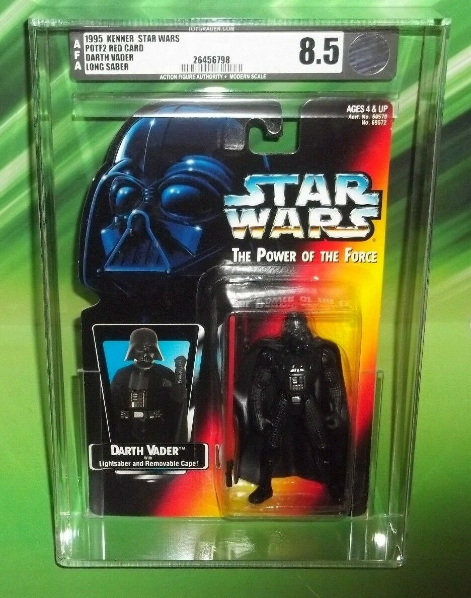 STAR STAR STAR WARS POTF RED orange CARD DARTH VADER WITH LONG LIGHT SABER AFA 8.5 752252