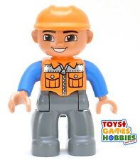 *NEW* LEGO DUPLO Train Station Airport Construction Worker Man Boy Figure Orange