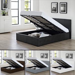 4ft6 Double Ottoman Storage Gas Lift Up Bed Optional Memory Foam Mattress