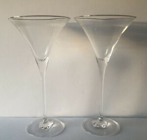 ANTHROPOLOGIE PANTOGRAPH SILVER RIMMED ETCHED PAIR OF MARTINI GLASSES