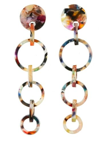 silver dangle earring with multi coloured acrylic CLIP ON EARRINGS Elon M