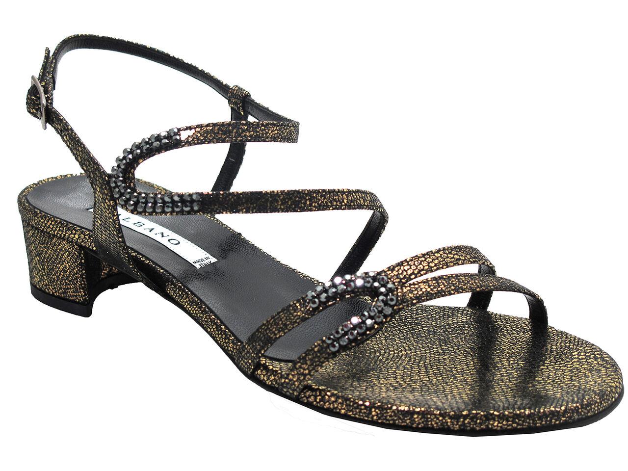 Albano 4774 Razza Nera para mujer tacón bajo elegante Brillo Brillo Brillo Sandalia en Negro oro  tienda en linea