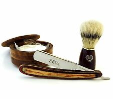 4 PC WET SHAVING WOOD KIT CUT THROAT STRAIGHT RAZOR, WOOD CUP, SOAP & BRUSH