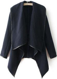 New-Navy-Long-Sleeve-Woolen-Waterfall-Sweater-Cardigan-Coat-Work-Size-S-M-8-12