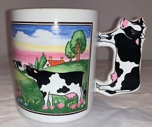 Topsy Turvy Ceramic Holstein Bovine Cow Coffee Mug Drink Cup 11oz Animal Farm