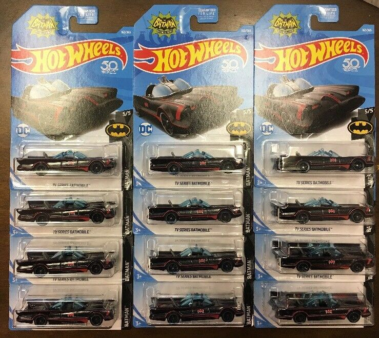 HOT WHEELS BATMAN DC TV SERIES BATMOBILE LOT OF 12 FREE SHIPPING 50TH ANNV