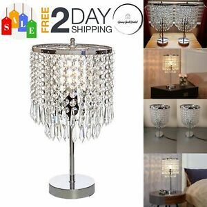 Details About Crystal Chandelier Table Lamp Modern Light Study Chrome Decor Nightstand Bedroom