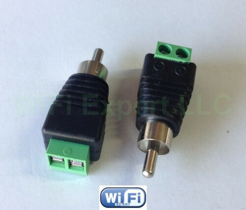 2pcs UTP Cat5//Cat6 Cable to AV RCA Male Screw Terminal Audio//Video Connector USA