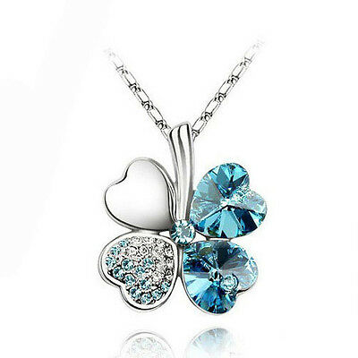 Sea Blue Gift Four-Leaf Clovers Crystal 18K White Gold Plated Necklace