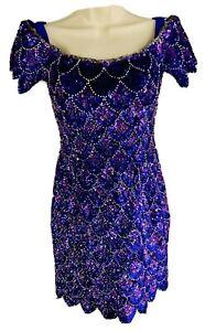 Alyce Designs Purple Mermaid Dress Size 4  Sequin Beaded Embellished Costume