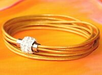 Ladies gold leather and stainless steel double wrap bracelet by Lyme Bay Art