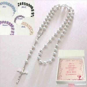 Details Zu Rosenkranz Perlen Geschenk Für Erste Kommuniontaufekonfirmationhalskette