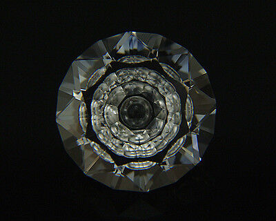Optical Grade Quartz. Precision Cut. Flat Facet With Carving. 21mm. 29.30cts.