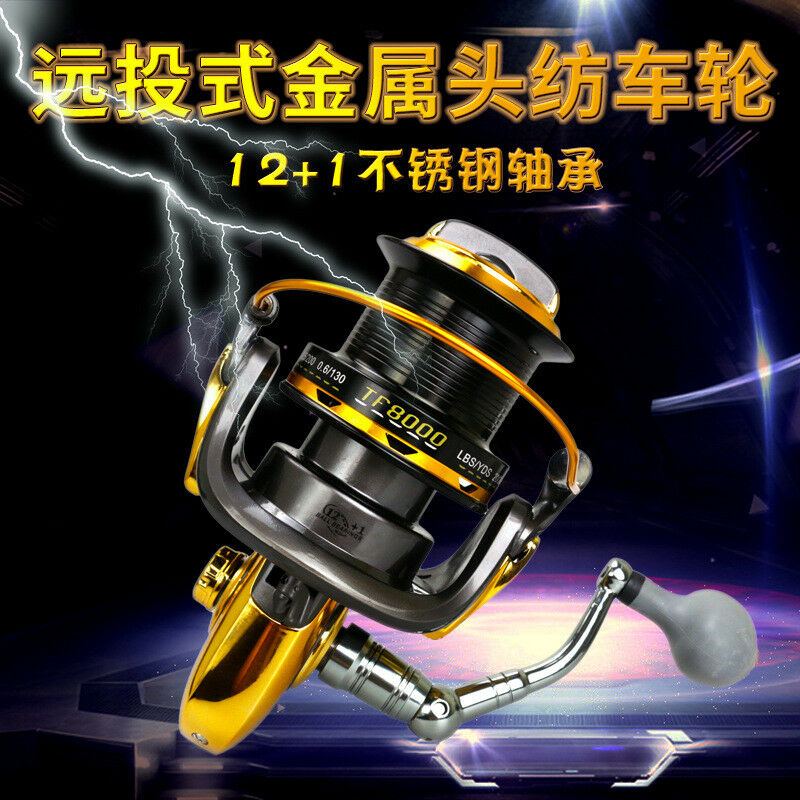 12+1BB 4.6 1 TF8000-110000 Big Long Shot Rod Wheel  Spinning Fishing Line Reel  for sale online