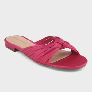 Who-What-Wear-Women-039-s-Grace-Satin-Knotted-Slide-Sandals-Pink-Size-6-NWT