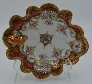 VTG Noritake Nippon Ornate Hand Painted Handled Porcelain Dish Red-Gold Floral
