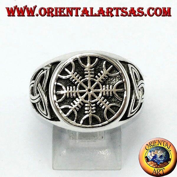 925 silver ring ‰ , vegvisir (kompasse keltisch) mit knoten tyrone
