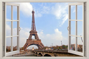 Image Is Loading 3D Eiffel Tower Paris Window Wall Sticker France