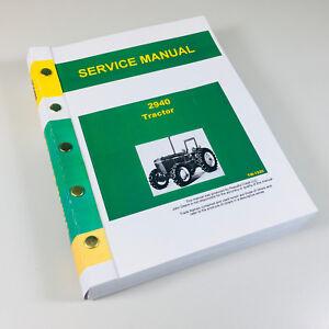 service manual for john deere 2940 tractor technical repair shop rh ebay com