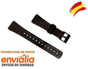 Correa-de-plastico-negra-para-reloj-Casio-modelo-F-91-18mm-DE-GOMA-W59-Repuesto