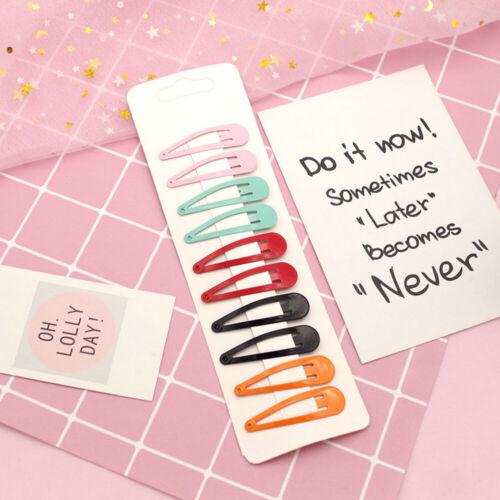 10PCS New Cartoon Metal Candy Color Girls Hairpins Hair Clip Kids Headwear Clips