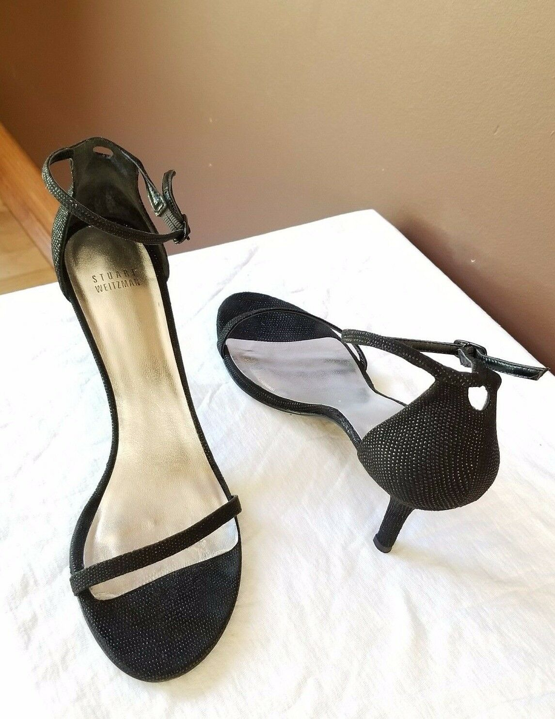 Stuart Weitzman black dress up sandals, Sz 10.5 M