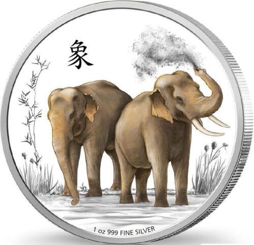 2015 Niue Feng Shui Silver Coin 1 oz Silver Proof Elephants