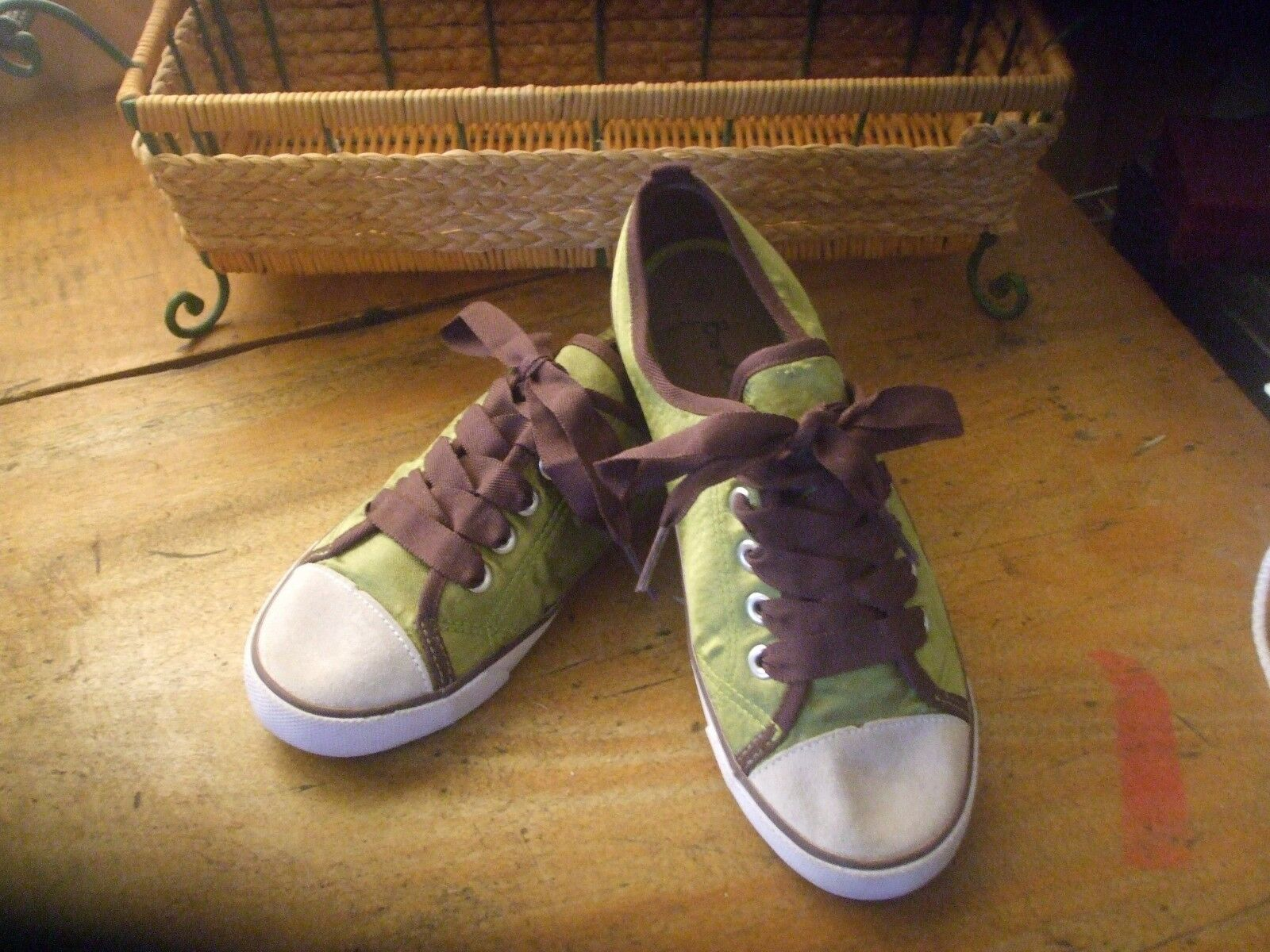 BODEN Sz 6 Lime Green Purple Lace Up Plim Soles Satin Sneakers