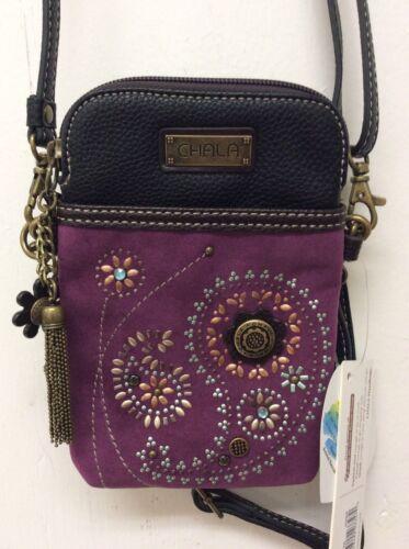 Chala Dazzled Paisley Cell Phone Crossbody Convertible Purse Purple New