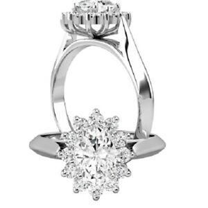 1.06 Ct Oval Moissanite Wedding Ring 14K Proposal Solid White Gold ring Size 5 6