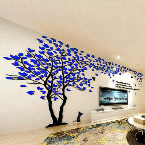 Large Family Dog Tree Wall Decals 3D DIY Acrylic Wall Stickers Mural Home Decor
