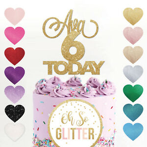 Incredible Custom 6Th Birthday Cake Topper Six 6 Glitter Any Age Cake Smash Funny Birthday Cards Online Alyptdamsfinfo