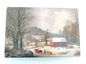 Vtg Two 2 Sided Jigsaw The Puzzle Factory Stourbridge Lion Sleighing Winter 500