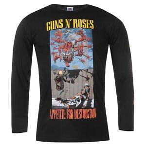 Oficial-Guns-N-Roses-para-hombre-Manga-larga-T-Shirt-Top-Cuello-Redondo-Impresion-de-Algodon