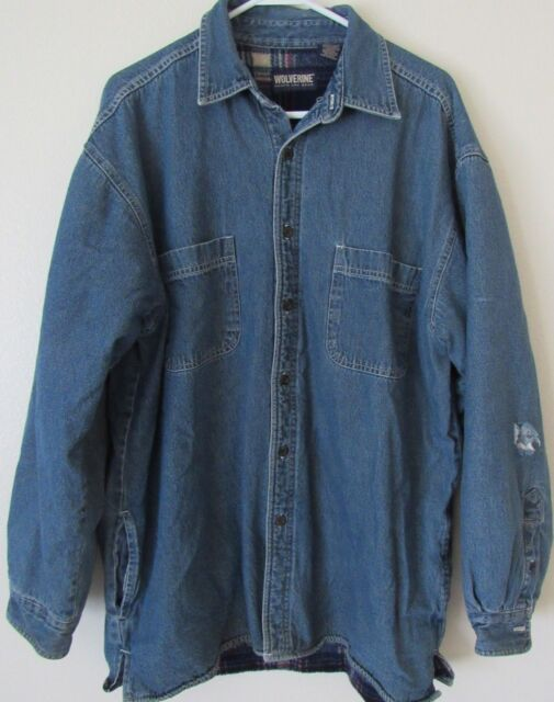 a7b5173b47 Wolverine Boots And Gear Mens Large Denim and Fleece Lined Button Up Jacket