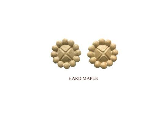 Applique Lot of 2 Solid Hardwood Round Rosette