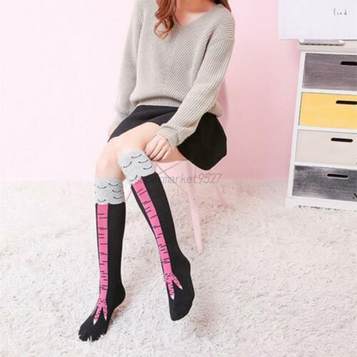 Womens Girls Funny 3D Animals Chicken Feet Knee High Socks Leg Thigh Stockings