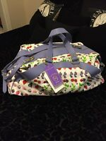 Versace For H&m Duffle White Lavender Cotton / Leather Travel Bag