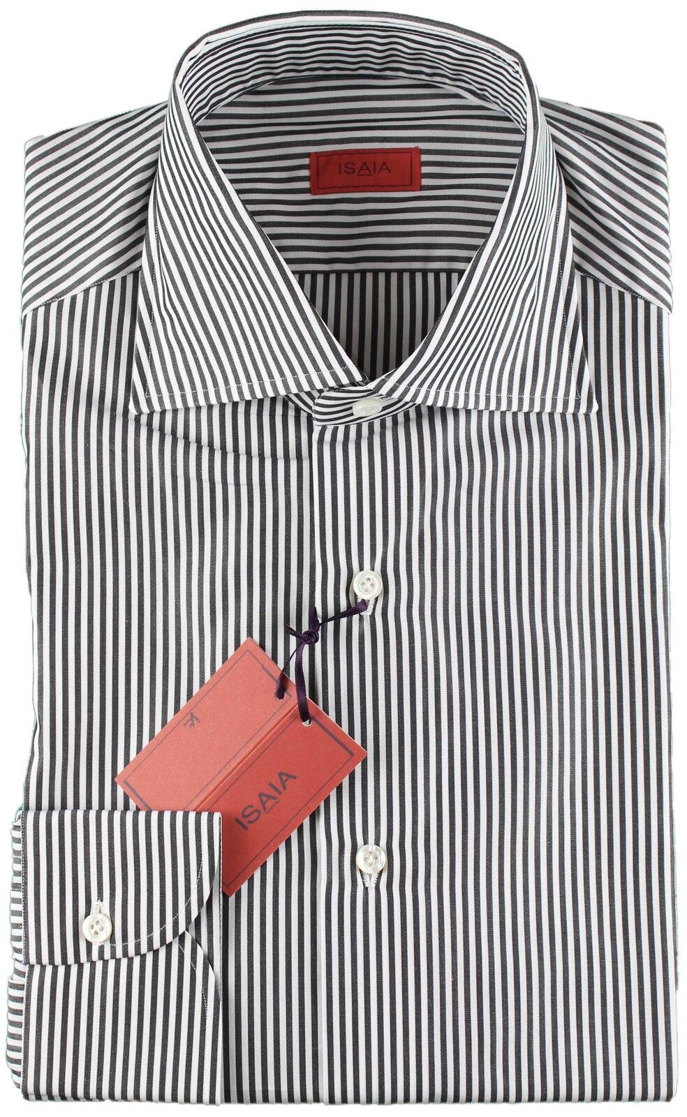 NWT ISAIA hemd schwarz & Weiß striped luxury verbreitung handmade  40 15 3 4