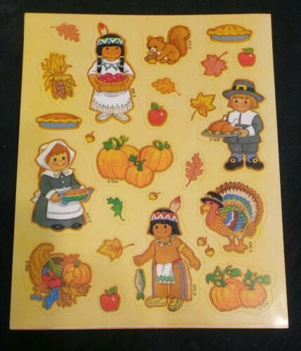 Pilgrims pumpkins..... Vintage Gibson Greetings Thanksgiving sticker sheet